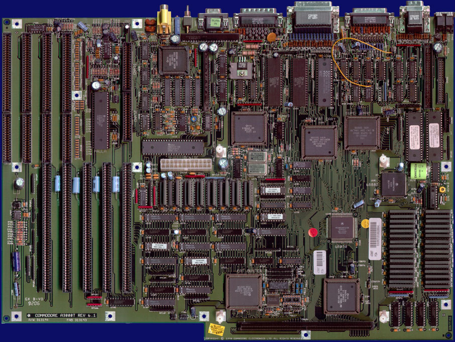 Commodore Amiga 3000T - Rev 6.1 motherboard, front side